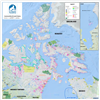 Nunavut Canada Wall Map - Communities and Land Claims. This detailed wall map of Nunavut shows all of the lands that make up this territory of Canada shows transportation, places, parks, glaciers, Inuit owned lands, census subdivisions, protected areas, s