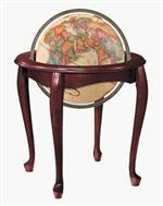 "Queen Anne - 16 Inch Floor Globe. The design of the solid hardwood stand with cherry finish calls to mind 18th Century European influence. 16"" diameter antique ocean globe with die-cast meridian. Additional shipping charges may apply for this globe."