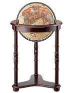 Westminster - 16 Inch Floor Globe. Blurring the line between globe and furniture accessory. The hardwood base with dark cherry finish enhances the vibrant colors of our 16 Inch antique-ocean globe with metal die-cast meridian. This globe lends richness to