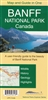 Banff National Park Gem Trek hiking map. The map covers Banff National Park as well as Yoho and Kootenay national parks. It shows roads, viewpoints, attractions, lodges and glaciers, and gives the name and elevation of mountains.On the back of the map are