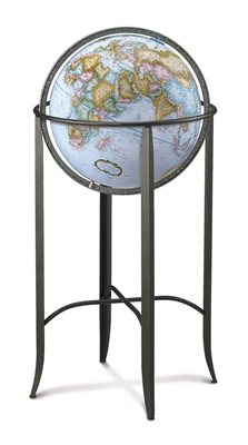 Trafalgar - 16 inch Floor Globe. The combination of progressive design, artistic angles, and metal floor stand with a 16 inch blue-ocean globe and pewter finished die-cast meridian gives the Trafalgar an air of sophistication.