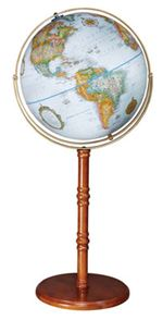 Edinburgh - 16 inch Floor Globe. Dignified and evoking the nautical world, the Edinburgh features an attractive walnut finish and solid wood base. Raised relief and blue ocean round out the effect of this new-for-2008 16 inch floor globe. By simply removi