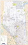 Alberta Provincial Base Wall Map 1:750,000. This map shows Primary and Secondary Highways - both paved and unpaved, Railroads, Lakes, Rivers, Cities, Towns, Villages, Airports, Provincial - National and Wildland Parks, Forest Reserves, First Nations and M