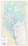 Alberta Forest Management Units Wall Map 1:1,000,000. This base map also depicts all FMA, or Forest Management Agreement holders. The map also shows primary and secondary highways, rivers, lakes, and other waterways, cities, towns, villages, airports, pol