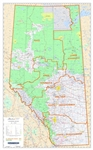 Alberta Provincial Base Map ESRD Green Areas. This map shows primary and secondary highways, rivers, lakes, and other waterways, cities, towns, villages, airports, political boundaries, DLS townships, sections and meridians, latitude and longitude grids.