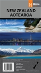 New Zealand - Aotearoa Travel & Road Map. Folded, indexed road and tourist map of New Zealand, showing all major and many minor roads, cities, and towns in detail. Map shows highways, road numbers, distance chart, railways, scenic routes, places of partic