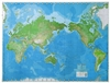 "World Wall Map Defense Mapping Agency. This Mercator projection map includes time zones, physical relief, and intercontinental distances with North America on right-hand side of map. A beautiful map for the home or office. Measures 42"" tall by 56"" wide."