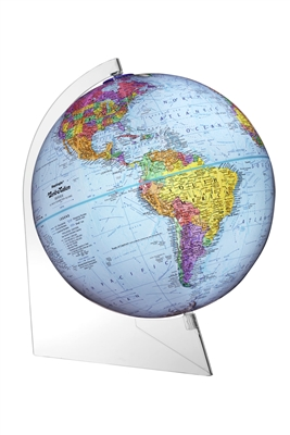 Modern Globe 12 inch PANORAMA. This 12 Inch political globe is held in place by a lightweight clear acrylic base. The blue ocean globe features over 4000 place names and political boundary markers. This beautiful globe can turn 360 degrees and looks as i