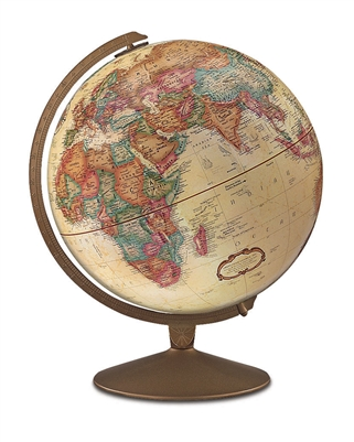 Franklin - 12 inch Desk Globe. The Franklin's 12 inch antique ocean globe features an antique-finished base. This beautiful globe contains more than 4,000 place names and distinctive political boundary markings. Perfect for the executive or home office.