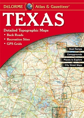 Texas Atlas & Gazetteer. With an incredible wealth of detail, DeLormes Atlas & Gazetteer is the perfect companion for exploring the outdoors in Texas. Extensively indexed, full-color topographic maps provide information on everything from cities and towns