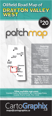 Oilfield Road Map of Drayton Valley West. Oilfield Road Map of Drayton Valley West. Features accurate PatchMap oilfield roads, labeled gas and waste plants, well sites, compressor stations, township grid with sections, detailed streams and water bodies, p