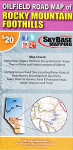 Oilfield Road Map of Rocky Mountain Foothills. This map covers Edmonton, Calgary, Red Deer, Rocky Mountain House, Drayton Valley and Foothills regions of Alberta. These maps contain the most accurate, current and complete road data set including oil and g