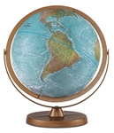 Atlantis - 12 Inch Desk Globe. Land areas on this special globe are in true-to-life color to illustrate mountains, deserts, forests and grasslands. Oceans show undersea physical features. Gyro-matic mounting with numbered full-meridian swings up or down t