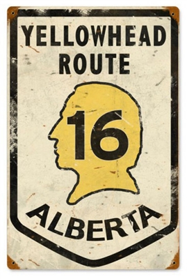 Yellowhead Route 16 Alberta Vintage Metal Sign