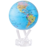 MOVA Solar Globe Blue Political - 4.5 Inch. An ultra low friction drive mechanism and a set of special solar cells, allows enough light to pass through and energize these solar cells to power the drive mechanism. MOVA globes may turn on a mere 1 to 5 mill
