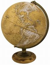 "Morgan Vintage Brown World Globe 12"". This globe has a classic appeal successfully blending its natural walnut hardwood base with the politically accurate globe. A plated, die-cast semi-meridian makes this globe the perfect choice for any setting."