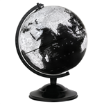 "Wells World Globe 12"" Black. Black globes add a sense of sophistication to any room. This 12"" raised relief globe showing mountains has a velvet-like feel to it. Features black, white tones that make the globe appear to be retro or vintage. Has a sturdy,"