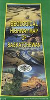 Saskatchewan Geological Highway Map. This map shows road systems and the types of surface bedrock, sediment and land forms. Features photographs and explanations of geological features shown including a glossary of terms.