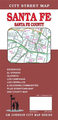 Santa Fe County street map. This detailed road map includes Edgewood, Ed Dorado, Glorieta, Los Campanas, Loa Cerrilos and adjoining communities. Also, a map of downtown and a county map.