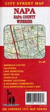Napa County Wineries street map. Road map of the entire Napa County. City insets for Saint Helena, Napa, Calistoga, Circle Oaks, Lake Berryessa Estates, American Canyon. Includes street index and points of interest.