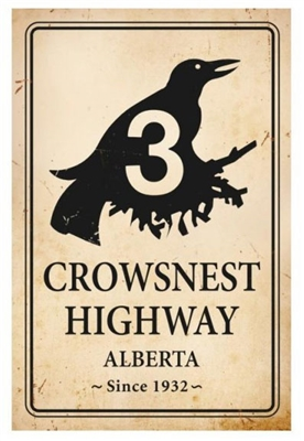 Crowsnest Highway 3 Alberta Vintage Metal Sign