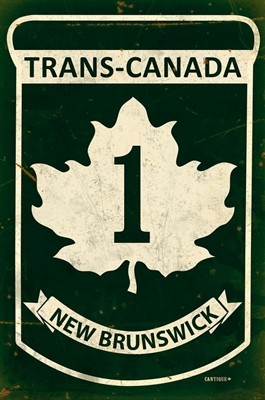 Replica Trans-Canada Highway 1 - New Brunswick Metal Sign measures 12 inches by 18 inches and weighs in at 2 lb(s). This Metal Sign is hand made in the USA using heavy gauge American steel.