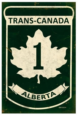 Replica Trans-Canada Highway 1 - Alberta Metal Sign. Measures 12 inches by 18 inches and weighs in at two pounds. This Metal Sign is hand made in the USA using heavy gauge American steel.
