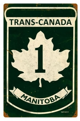 Replica Trans-Canada Highway 1 - Manitoba Metal Sign measures 12 inches by 18 inches and weighs in at 2 lb(s). This Metal Sign is hand made in the USA using heavy gauge American steel.