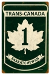 Replica Trans-Canada Highway 1 - Saskatchewan Metal Sign measures 12 inches by 18 inches and weighs in at 2 lb(s). This Metal Sign is hand made in the USA using heavy gauge American steel.