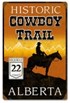 Historic Cowboy Trail Highway 22 Alberta Metal Sign. This vintage looking sign showcasing the road that runs parallel to the majestic Canadian Rocky Mountains measures 12 inches by 18 inches and weighs 2 lbs. This sign is hand made using heavy gauge steel
