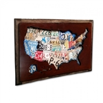 USA License Plate Cutout Vintage Metal Sign. License plates make up this very cool plasma shape. You have never seen the United States like this. Looks great in any room, garage or man cave. This 18 inch x 12 inch metal artwork with wood frame also makes