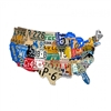 This Metal License Plate map of the USA is the perfect addition to your home or office. It shows every licence plate for the entire continental USA. Measures 25 inches by 16 inches and weighs in at 3 pounds. This Custom Metal Shape is hand made in the USA