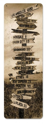 Crossroads Vintage Metal Sign