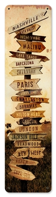 Bucket List Vintage Metal Sign. This type of popular sign shows the direction to different places around the world, including Paris, Malibu, Nashville, London and more. Measures 5 inches by 20 inches and weighs in at one pound. This Metal Sign is hand mad
