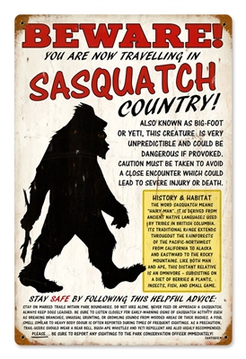 Beware Sasquatch Small Vintage Metal Sign