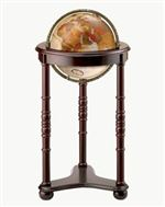 Lancaster - 12 inch Floor Globe. The Lancasters cherry-finish chair-side stand with carved accents complements the rich bronze metallic globe ball. Metal die-cast meridian.