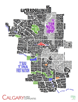 Calgary & Area Communities - Medium 2021 Wall Map. New for 2021. See Calgary in a new way. This creative wall map of Calgary, Alberta shows all communities in the city by using their names. This color-coded map shows communities in black, parks in green,