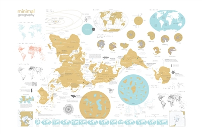 Minimalist World Gold Wall Map. This minimalist world map uses a very unique projection. In fact there are 15 different map projections are represented on this map including the main map using a Icosahedron projection created by Buckmeister Fuller in 1943