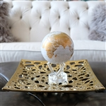 MOVA Globe White & Gold - 4.5 Inches wide - solar powered. If luxury is your style, this globe design is sure to please. A sight to behold, the map features a crisp white ocean canvas that is decorated with clean lines, pencil-sharp details, and slick gol