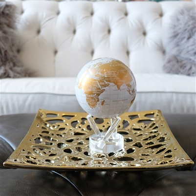MOVA Globe White and Gold. If luxury is your style, this globe design is sure to please. A sight to behold, the map features a crisp white ocean canvas that is decorated with clean lines, pencil-sharp details, and slick gold continents that glimmer in the