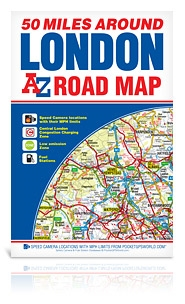 50 Miles Around London Road Map. This map is a full color, single sided, fold out road map featuring continuous mapping extending from Rugby and Bury St. Edmunds to the south coast and from Oxford and Winchester to Margate and Felixstowe in the east. Two