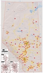 Alberta Provincial Base Map Postal Codes map. This is a simplified Alberta base map that shows all the Postal Code Forward Sortation Boundaries in Alberta. Shows cities, towns, primary and secondary roads and lakes. It includes insets of Calgary Edmonton