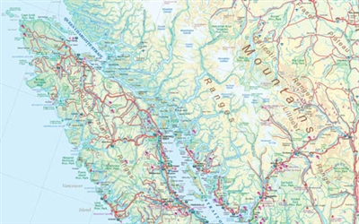 British Columbia Canada - large wall map. This is a very attractive wall map of all of BC, perfect for that bare office or study wall. It has lots of colors and good details, and has inset maps of Downtown Vancouver, Downtown Victoria and Whistler Village