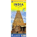 India travel map. This is a great topographical map of India. It has rich coloring, distinctive highlighted roadways, and provides a great deal of tourist information. This map is printed double sided on waterproof paper. This map includes an inset of New