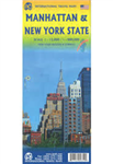 Manhattan & NY State Travel Map. This updated edition stretches from the northern edge of Central Park to The Battery and shows subway lines and railways where they actually travel, not just the stations. All ferry routes are included. The core of the s
