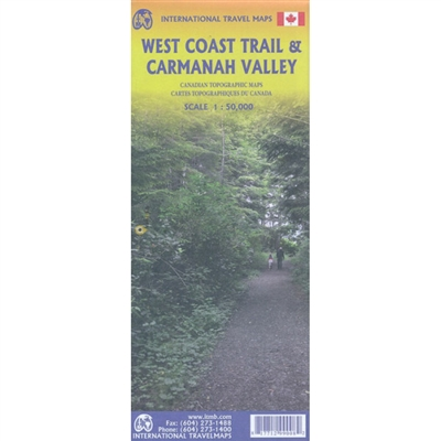 West Coast Trail BC Hiking Map. This is a topographic map that covers the popular West Coast Trail on Vancouver Island, British Columbia. One of the best coastal hikes that will take you on an 80 kilometer hike along some majestic coast line. Compliment y