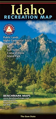 Idaho Benchmark Recreation Map. Special enlargements for greater Boise, Sun Valley, Island Park area, and Coeur d' Alene. High-quality folded maps designed specifically for outdoor adventure. A richly detailed state road map with extensive backcountry inf