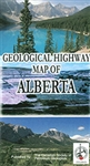 Alberta Geological Highway Road Map. A surface geology map showing principal highways, cities, towns, lakes and rivers. Contains stratigraphic successions and cross section illustrations depicting the vertical order of rock layers, and unexposed formation