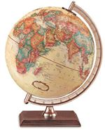 Forester - 9 Inch World Globe. This 9 Inch antique-ocean globe is completed by walnut finished base and gold-colored molded meridian and riser. Place it on your desk and keep an eye on the world.