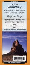 Four Corners - Indian Country AZ NM CO UT regional map. Regional, outdoor recreation map of the four corners of Utah, Colorado, Arizona, and New Mexico. Includes, Bryce Canyon, Monument Valley, Grand Canyon, Mesa Verde, Canyon de Chelly, and more.